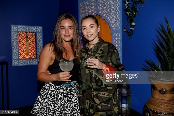Olympia Valance and Mavournee Hazel attends the Bombay Sapphire Project Botanicals Launch on November 22 2017 in Melbourne Australia