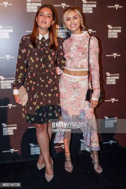 Olympia Valance and Sarah Ellen arrives ahead the VAMFF 2017 Grand Showcase runway show on March 16 2017 in Melbourne Australia
