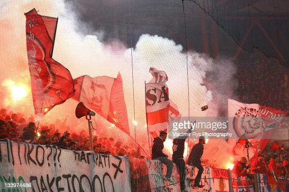 Olympiacos fans are pictured during the Super League match between Olympiacos Piraeus and Panathinaikos FC at Karaiskaki Stadium on November 19 2011...