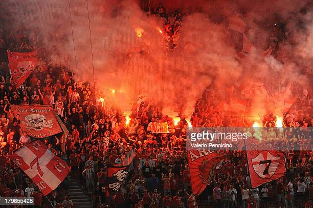 Olympiacos FC fans show their support during the greek Super League match between Olympiacos FC and Atromitos FC at Karaiskakis Stadium on August 25...