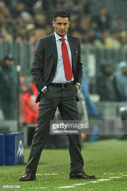 Olympiacos FC head coach Michel watches the action during the UEFA Champions League group A match between Juventus and Olympiacos FC at Juventus...
