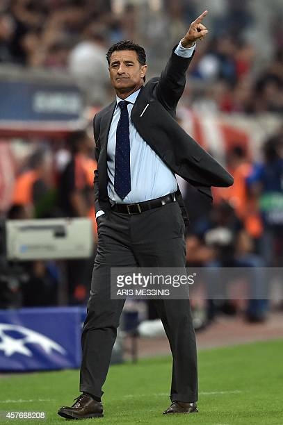 Olympiacos' head coach Michel whose full name is Jose Miguel Gonzalez Martin del Campo gestures during the Group A Champions League football match...