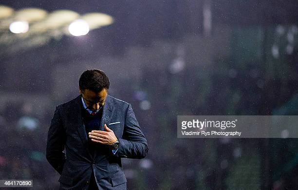Olympiacos Head Coach Vitor Pereira is seen during the Superleague match between Panathinaikos FC and Olympiacos at Apostolos Nikolaidis Stadium on...