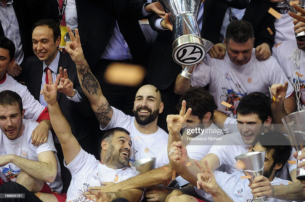 Olympiacos Piraeus players celebrate during the Turkish Airlines EuroLeague Final Four 2013 Champions Awards Ceremony at O2 Arena on May 12, 2013 in London, United Kingdom.