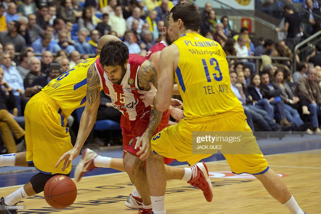 Olympiacos Piraeus's Greek forward Georgios Printezis (L) vies with Maccabi Tel Aviv's Georgia center Giorgi Shermadini (R) during their Euroleague Top 16 basketball match, game 05, between Maccabi Tel Aviv Electra and Olympiacos Piraeus, on January 24, 2013 at the Nokia stadium in the Mediterranean coastal city of Tel Aviv, Israel.
