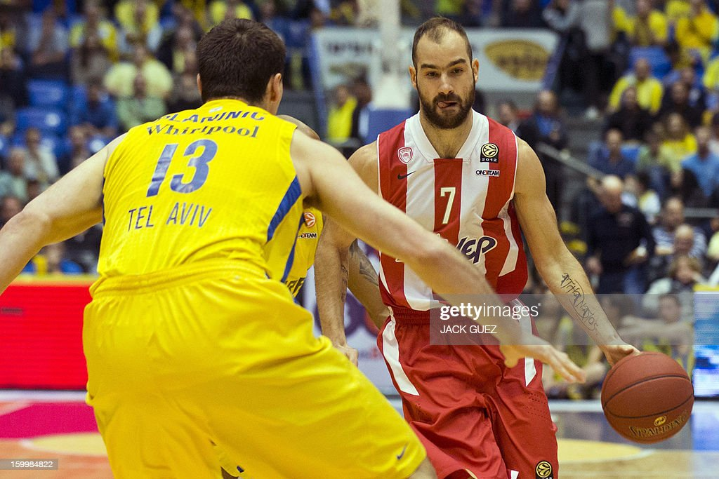 Olympiacos Piraeus's Greek guard Vassilis Spanoulis (R) vies with Maccabi Tel Aviv's Georgia center Giorgi Shermadini (L) during their Euroleague Top 16 basketball match, game 05, between Maccabi Tel Aviv Electra and Olympiacos Piraeus, on January 24, 2013 at the Nokia stadium in the Mediterranean coastal city of Tel Aviv, Israel.