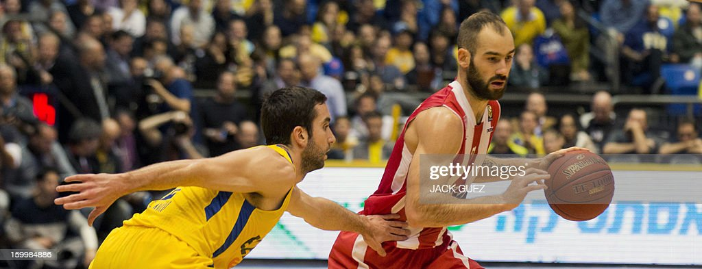 Olympiacos Piraeus's Greek guard Vassilis Spanoulis (R) vies with Maccabi Tel Aviv's Israel guard Yogev Ohayon (L) during their Euroleague Top 16 basketball match, game 05, between Maccabi Tel Aviv Electra and Olympiacos Piraeus, on January 24, 2013 at the Nokia stadium in the Mediterranean coastal city of Tel Aviv, Israel.