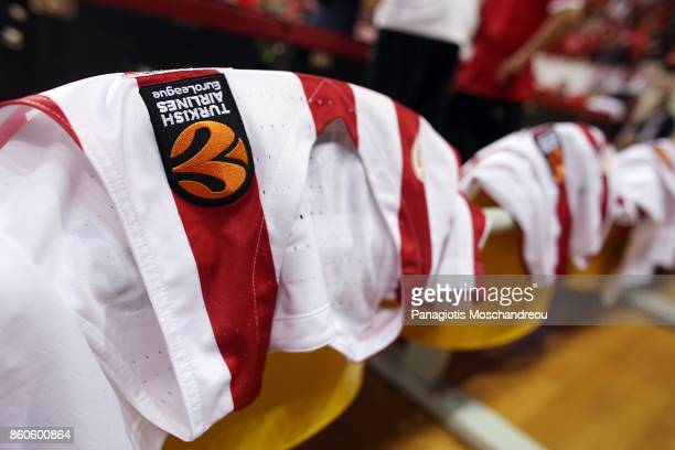 Olympiacos' shirts in the bench of the team during the 2017/2018 Turkish Airlines EuroLeague Regular Season Round 1 game between Olympiacos Piraeus v...