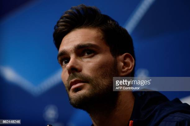 Olympiacos' Spanish defender Alberto Botia attends a press conference at the Camp Nou staduium in Barcelona on October 17 2017 on the eve of the UEFA...