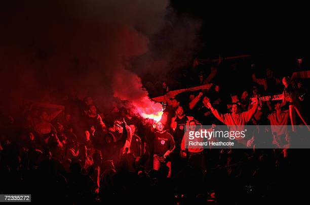 Olympiakos fans during the UEFA Champions League group D match between Roma and Olympiakos at the Stadio Olimpico on October 31 2006 in Rome Italy