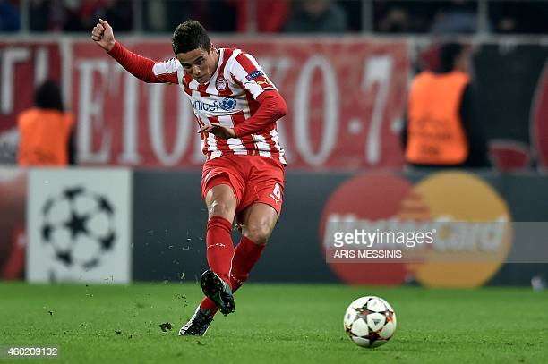 Olympiakos' Ibrahim Afellay scores during the UEFA Champions League Group A football match Olympiakos vs Malmo FF at the Karaiskaki stadium near...