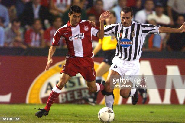 Olympiakos' Nery Alberto Castillo and Juventus' Paolo Montero battle for the ball