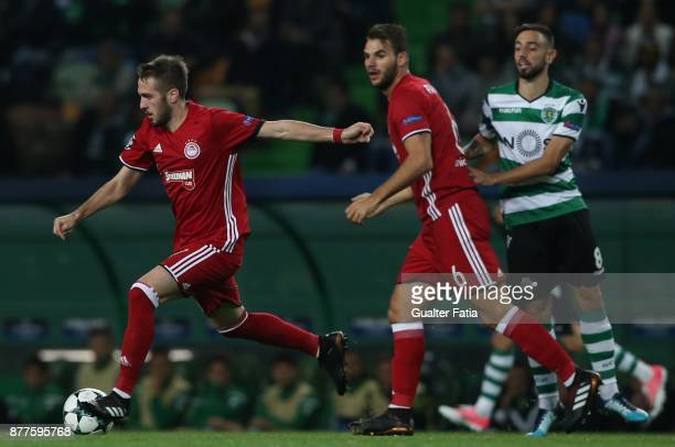 Olympiakos Piraeus midfielder Kostas Fortounis from Greece in action during the UEFA Champions League match between Sporting Clube de Portugal and...