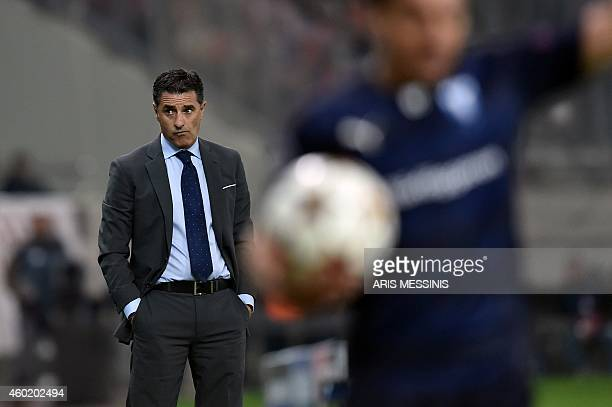 Olympiakos' Spanish coach Michel looks on during the UEFA Champions League Group A qualifying football match Olympiakos vs Malmo FF at the Karaiskaki...