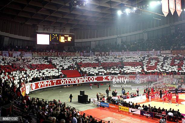 Olympiakos supporters during the Play off Game 2 Olympiacos Piraeus v Real Madrid on March 26 2009 at the Peace And Friendship Stadium in Athens...