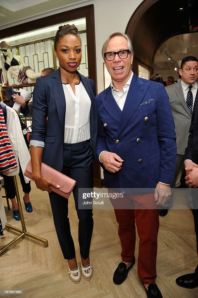 Olympian Allyson Felix and fashion designer Tommy Hilfiger attend Tommy Hilfiger New West Coast Flagship Opening on Robertson Boulevard on February 13, 2013 in West Hollywood, California.