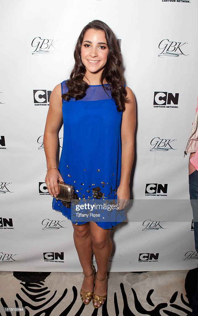 Olympian Aly Raisman attends the GBK & Cartoon Network's Official Backstage Thank You Lounge at Barker Hangar on February 9, 2013 in Santa Monica, California.