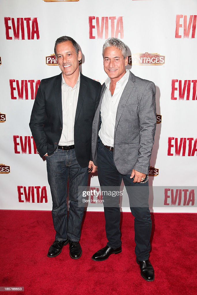 Olympian and author <a gi-track='captionPersonalityLinkClicked' href=/galleries/search?phrase=Greg+Louganis&family=editorial&specificpeople=217786 ng-click='$event.stopPropagation()'>Greg Louganis</a> and his husband Johnny Chaillot attends the 'Evita' Los Angeles opening night at the Pantages Theatre on October 24, 2013 in Hollywood, California.