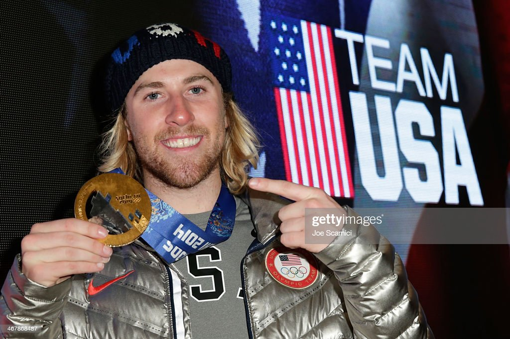 U.S. Olympian and gold medalist <a gi-track='captionPersonalityLinkClicked' href=/galleries/search?phrase=Sage+Kotsenburg&family=editorial&specificpeople=6711370 ng-click='$event.stopPropagation()'>Sage Kotsenburg</a> visits the USA House in the Olympic Village on February 8, 2014 in Sochi, Russia.