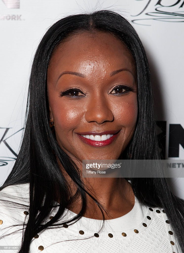 Olympian Carmelita Jeter attends the GBK & Cartoon Network's Official Backstage Thank You Lounge at Barker Hangar on February 9, 2013 in Santa Monica, California.