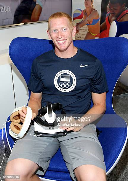 Olympian Cyrus Hostetler attends Team USAs Virtual Reality Experience Powered by Samsung Gear VR during the 2015 Road to Rio tour at 'B' Street Pier...