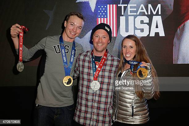 US Olympian David Wise Coach Ben Verge and US Olympian Maddie Bowman visit the USA House in the Olympic Village on February 21 2014 in Sochi Russia