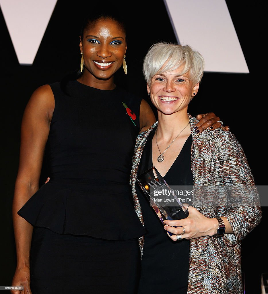 Olympian <a gi-track='captionPersonalityLinkClicked' href=/galleries/search?phrase=Denise+Lewis+-+Track+and+Field+Athlete&family=editorial&specificpeople=211595 ng-click='$event.stopPropagation()'>Denise Lewis</a> presents Jess Fishlock of Bristol Academy with the 'FA Player's player of the Year' award during the FA Women's Awards 2012 at the Waldorf Hilton on November 2, 2012 in London, England.