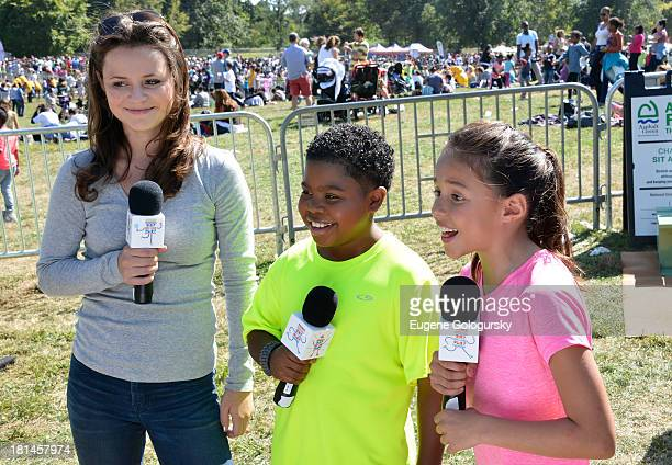 "S Olympian figure skater Sasha Cohen and actors Breanna Yde and Benjamin ""Lil PNut"" Flores Jr speak during activities at Nickelodeon's 10th Annual..."