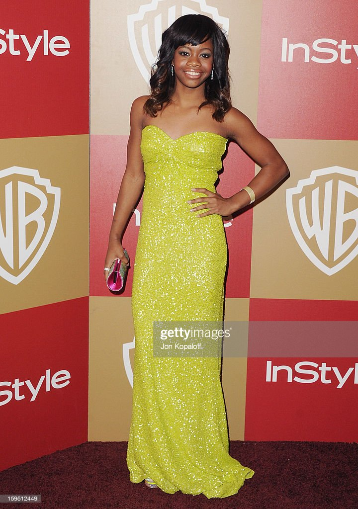 Olympian Gabby Douglas arrives at the InStyle And Warner Bros. Golden Globe Party at The Beverly Hilton Hotel on January 13, 2013 in Beverly Hills, California.