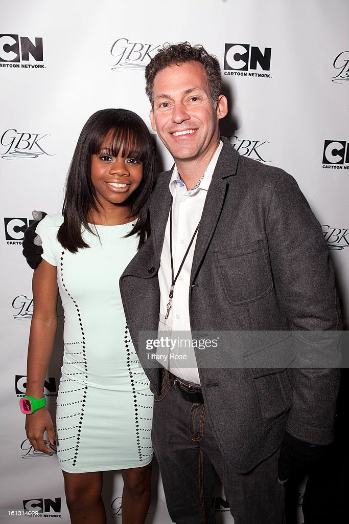 Olympian Gaby Douglas and Founder and CEO of GBK Productions Gavin Keilly attend the GBK & Cartoon Network's Official Backstage Thank You Lounge at Barker Hangar on February 9, 2013 in Santa Monica, California.