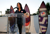 Olympian Janet Evans speaks at the Toast to Team USA Send Off presented by Bridgestone event at The Paley Center for Media on July 22 2016 in Los...