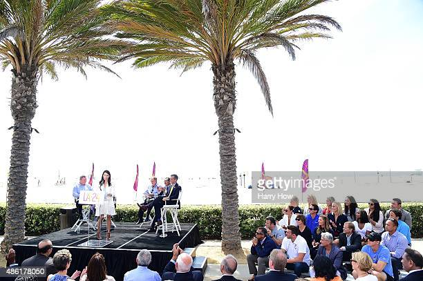 Olympian Janet Evens speaks at a press conference as she is joined by Los Angeles Mayor Eric Garcetti LA City Cuncil President Herb Wesson announcer...