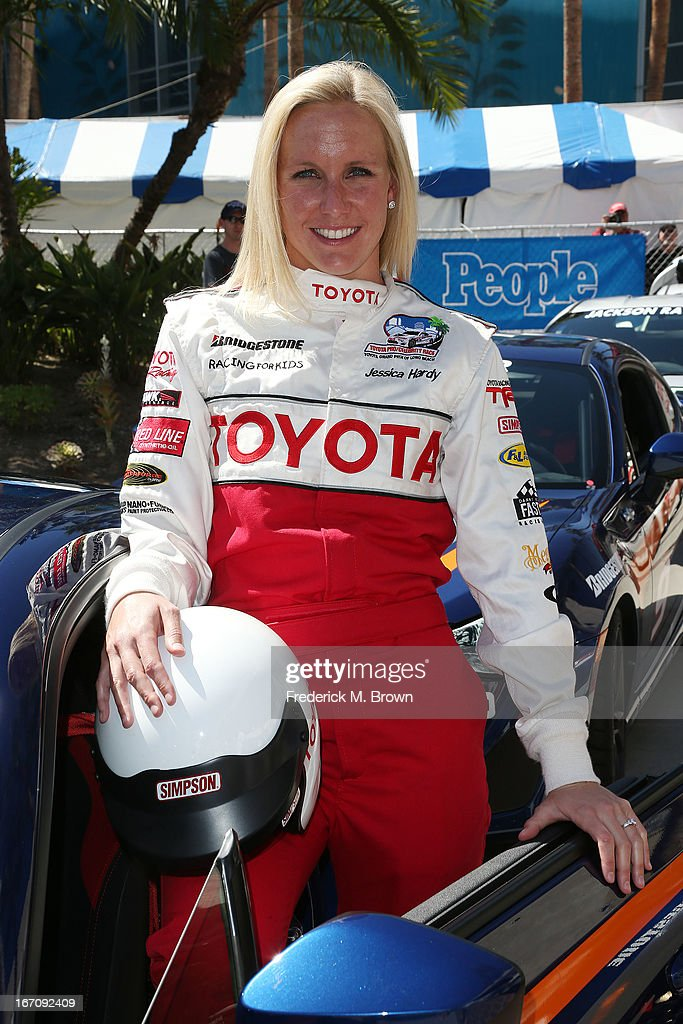 Olympian <a gi-track='captionPersonalityLinkClicked' href=/galleries/search?phrase=Jessica+Hardy&family=editorial&specificpeople=540355 ng-click='$event.stopPropagation()'>Jessica Hardy</a> attends the 37th Annual Toyota Pro/Celebrity Race qualifying on April 19, 2013 in Long Beach, California.