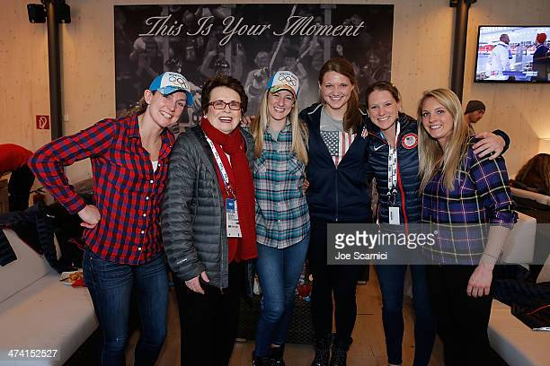 US Olympian Jessie Vetter Billie Jean King US Olympians Brianne McLaughlin Lee Stecklein Kacey Bellamy and Jessie Vetter visit the USA House in the...