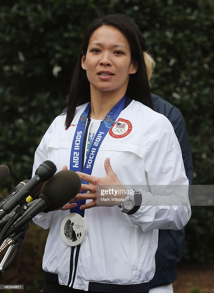 U.S. Olympian <a gi-track='captionPersonalityLinkClicked' href=/galleries/search?phrase=Julie+Chu&family=editorial&specificpeople=677214 ng-click='$event.stopPropagation()'>Julie Chu</a> speaks to the media in front of the West Wing while visiting the White House on April 3, 3014 in Washington, DC. President Barack Obama and first lady Michelle Obama welcomed and congratulated the Olympians and Paralympians on their performance and thanked them for representing the United States during the 2014 Olympic Winter Games in Sochi, Russia.