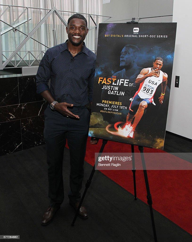 Olympian Justin Gatlin attends BET Digital Presents 'The Fast Life Of: Justin Gatlin' on July 18, 2016 in New York City.