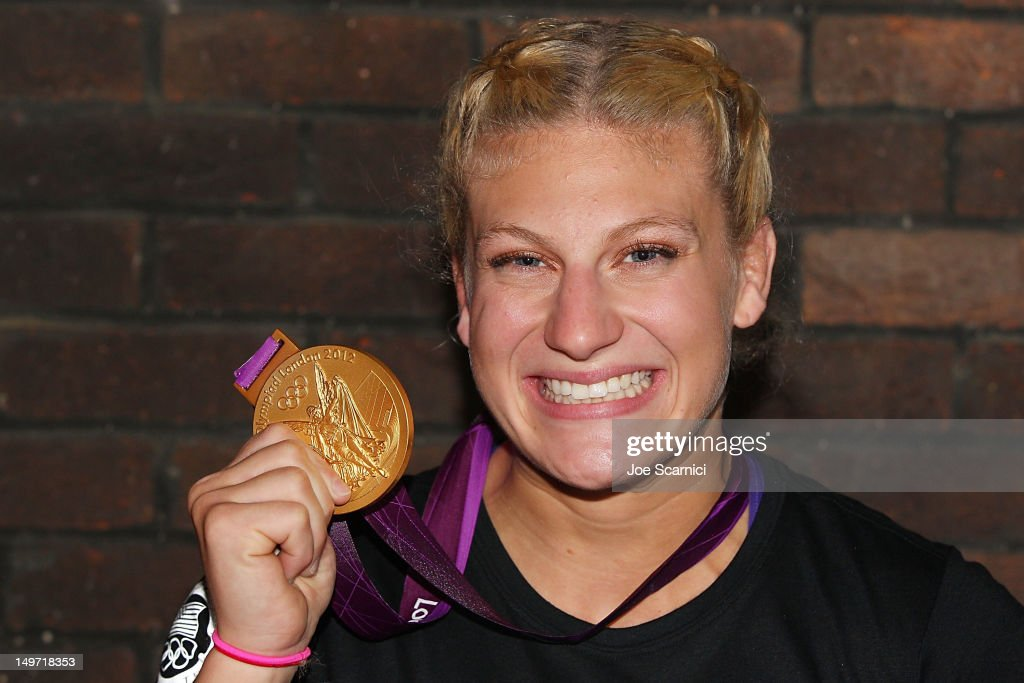 U.S. Olympian <a gi-track='captionPersonalityLinkClicked' href=/galleries/search?phrase=Kayla+Harrison&family=editorial&specificpeople=7179048 ng-click='$event.stopPropagation()'>Kayla Harrison</a> visits the USA House at the Royal College of Art on August 2, 2012 in London, England.