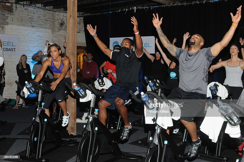 Olympian Lolo Jones, NFL players Alfred Morris and Matt Forte attend The Flywheel Challenge at the NFL House hosted by Shannon Sharpe at The Chicory on February 1, 2013 in New Orleans, Louisiana.