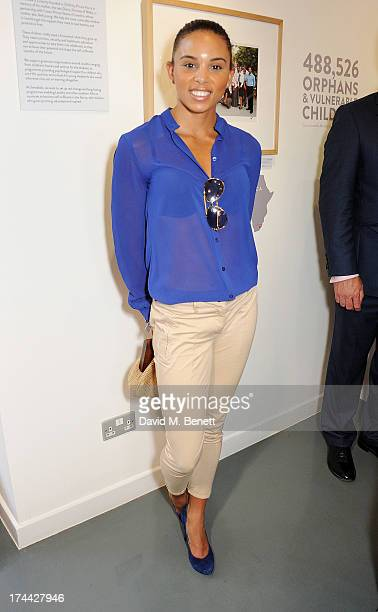 Olympian Louise Hazel attends the private view of 'Sentebale Stories Of Hope' showcasing images by Getty Images' Royal photographer Chris Jackson of...