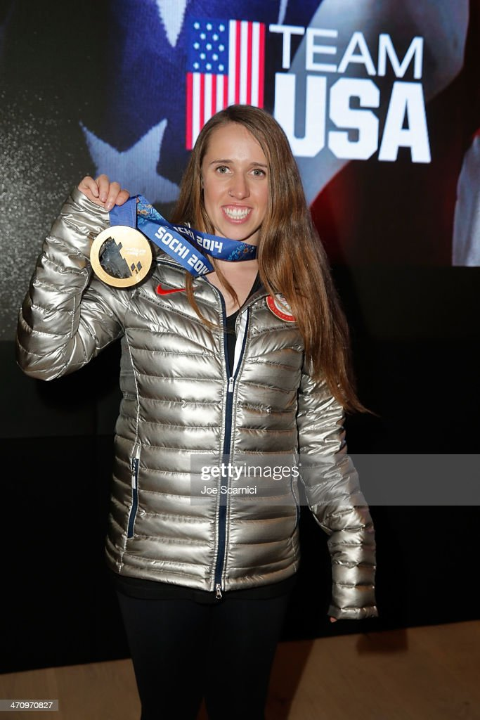 U.S. Olympian <a gi-track='captionPersonalityLinkClicked' href=/galleries/search?phrase=Maddie+Bowman&family=editorial&specificpeople=8052656 ng-click='$event.stopPropagation()'>Maddie Bowman</a> visits the USA House in the Olympic Village on February 21, 2014 in Sochi, Russia.