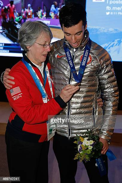 S Olympian Matthew Antoine and mother Mary visit the USA House in the Olympic Village on February 16 2014 in Sochi Russia