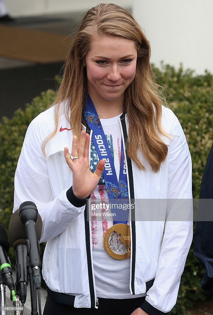U.S. Olympian <a gi-track='captionPersonalityLinkClicked' href=/galleries/search?phrase=Mikaela+Shiffrin&family=editorial&specificpeople=7472698 ng-click='$event.stopPropagation()'>Mikaela Shiffrin</a> speaks to the media in front of the West Wing while visiting the White House on April 3, 3014 in Washington, DC. President Barack Obama and first lady Michelle Obama welcomed and congratulated the Olympians and Paralympians on their performance and thanked them for representing the United States during the 2014 Olympic Winter Games in Sochi, Russia.