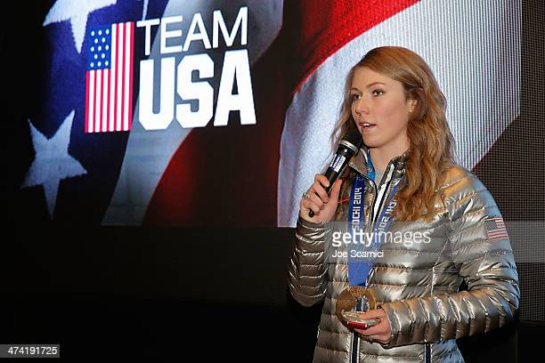 S Olympian Mikaela Shiffrin visits the USA House in the Olympic Village on February 22 2014 in Sochi Russia