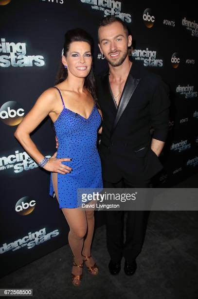 Olympian Nancy Kerrigan and dancer Artem Chigvintsev attend 'Dancing with the Stars' Season 24 at CBS Televison City on April 24 2017 in Los Angeles...