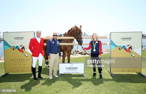 Olympian Rich Fellers 2008 Olympic Gold Medalist Will Simpson and 2016 Silver Medalist Lucy Davis attend the Longines Masters of Los Angeles preview...