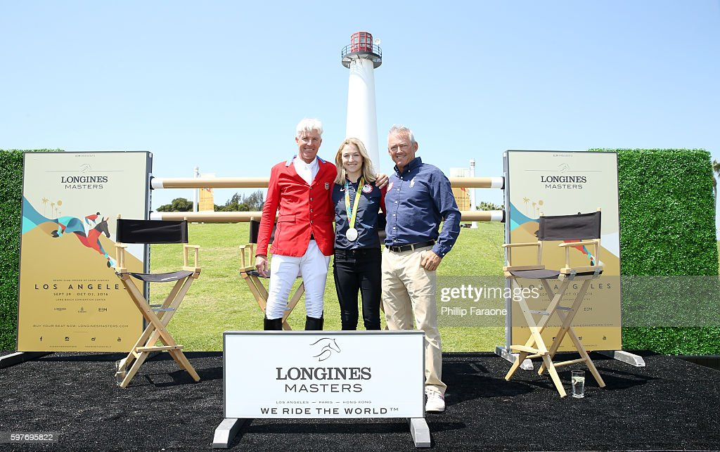 Olympian Rich Fellers 2016 Silver medalist Lucy Davis and 2008 Olympic Gold Medalist Will Simpson attend the Longines Masters of Los Angeles preview...