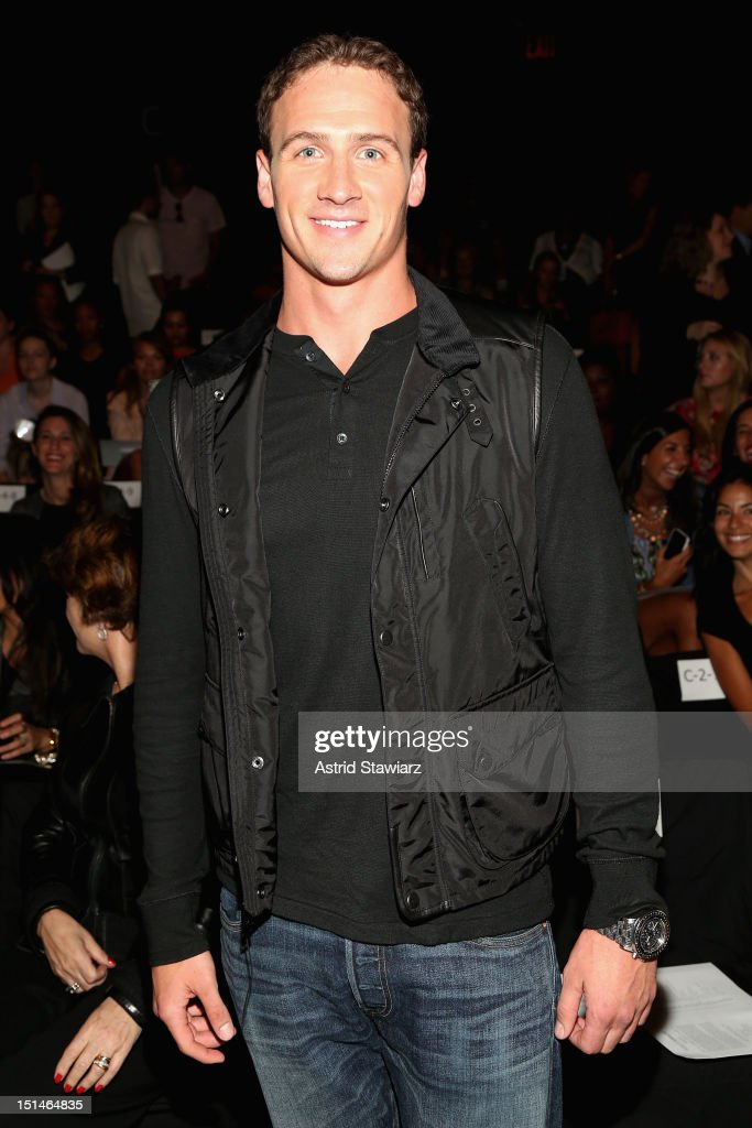 Olympian <a gi-track='captionPersonalityLinkClicked' href=/galleries/search?phrase=Ryan+Lochte&family=editorial&specificpeople=182557 ng-click='$event.stopPropagation()'>Ryan Lochte</a> attends the Rebecca Minkoff Spring 2013 fashion show for TRESemme during Mercedes-Benz Fashion Week at The Theater at Lincoln Center on September 7, 2012 in New York City.