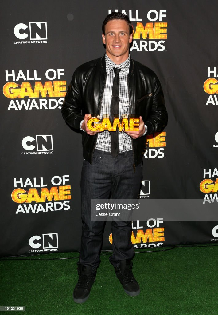 Olympian <a gi-track='captionPersonalityLinkClicked' href=/galleries/search?phrase=Ryan+Lochte&family=editorial&specificpeople=182557 ng-click='$event.stopPropagation()'>Ryan Lochte</a> attends the Third Annual Hall of Game Awards hosted by Cartoon Network at Barker Hangar on February 9, 2013 in Santa Monica, California. 23270_004_JG_0027.JPG