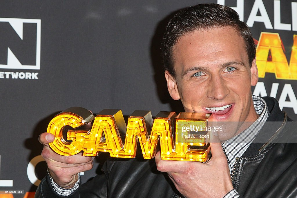 Olympian <a gi-track='captionPersonalityLinkClicked' href=/galleries/search?phrase=Ryan+Lochte&family=editorial&specificpeople=182557 ng-click='$event.stopPropagation()'>Ryan Lochte</a> poses in the press room during the 3rd Annual Cartoon Network's 'Hall Of Game' Awards held at Barker Hangar on February 9, 2013 in Santa Monica, California.