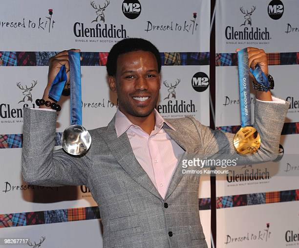 S Olympian Shani Davis attends the 8th annual 'Dressed To Kilt' Charity Fashion Show presented by Glenfiddich at M2 Ultra Lounge on April 5 2010 in...